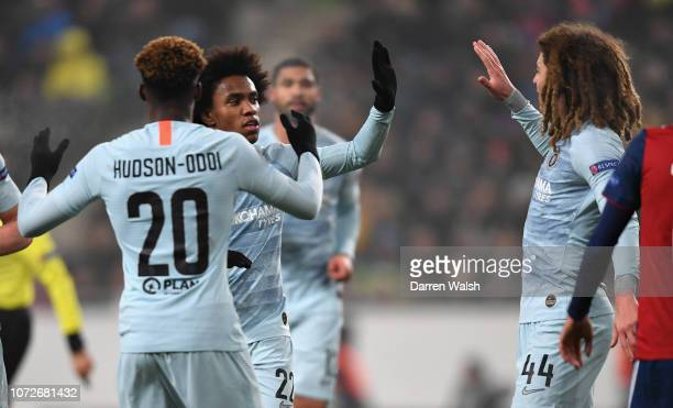 Willian of Chelsea celebrates scoring his sides first goal from a free kick with teammates Callum HudsonOdoi and Ethan Ampadu during the UEFA Europa...