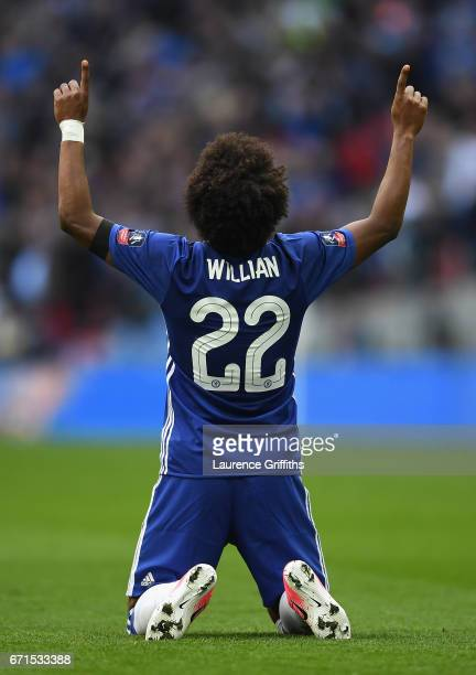 Willian of Chelsea celebrates scoring his sides second goal during The Emirates FA Cup SemiFinal between Chelsea and Tottenham Hotspur at Wembley...