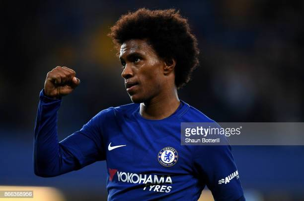 Willian of Chelsea celebrates scoring his sides second goal during the Carabao Cup Fourth Round match between Chelsea and Everton at Stamford Bridge...