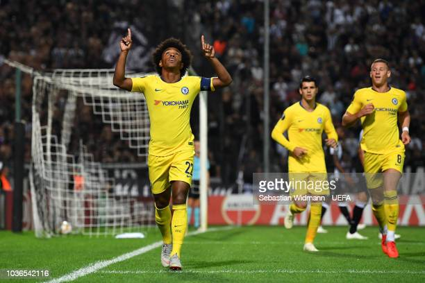 Willian of Chelsea celebrates scoring his teams first goal during the UEFA Europa League Group L match between PAOK and Chelsea at Toumba Stadium on...