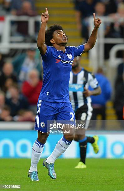 Willian of Chelsea celebrates scoring his team's second goal during the Barclays Premier League match between Newcastle United and Chelsea at St...
