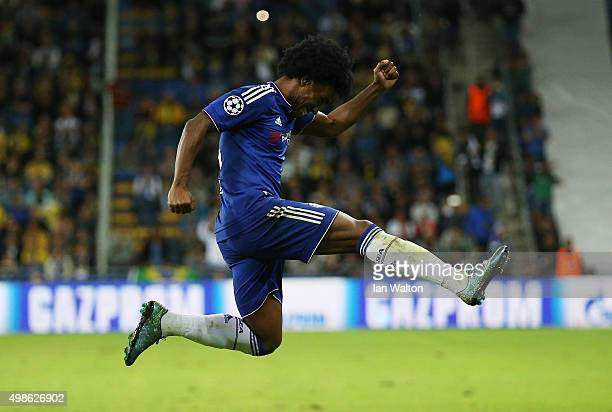 Willian of Chelsea celebrates scoring his teams second goal during the UEFA Champions League Group G match between Maccabi Tel-Aviv FC and Chelsea FC...