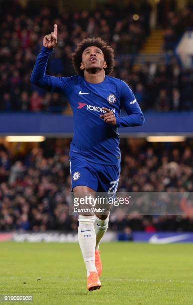 Willian of Chelsea celebrates scoring the first goal during the Emirates FA Cup Fifth Round match between Chelsea and Hull City at Stamford Bridge on...