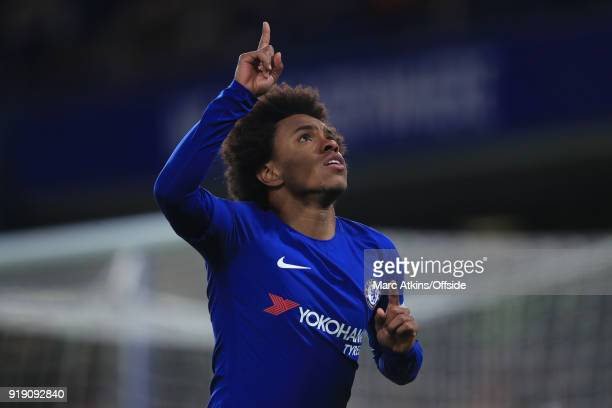 Willian of Chelsea celebrates scoring their 1st goal during the FA Cup 5th Round match between Chelsea and Hull City at Stamford Bridge on February...
