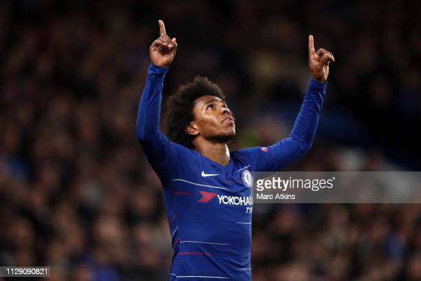 Willian of Chelsea celebrates scoring their 2nd goal during the UEFA Europa League Round of 16 First Leg match between Chelsea and Dynamo Kyiv at...