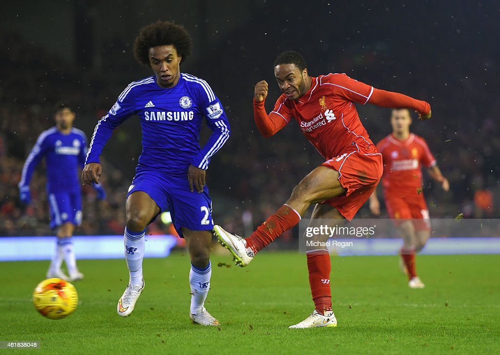 Willian of Chelsea closes down Raheem Sterling of Liverpool during the Capital One Cup Semi-Final first leg match between Liverpool and Chelsea at Anfield on January 20, 2015 in Liverpool, England.