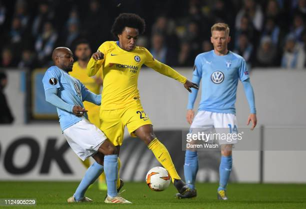 Willian of Chelsea controls the ball during the UEFA Europa League Round of 32 First Leg match between Malmo FF and Chelsea at Malmoe Stadion on...