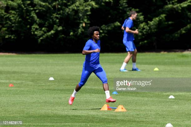 Willian of Chelsea during a small group training session at Chelsea Training Ground on May 22 2020 in Cobham England