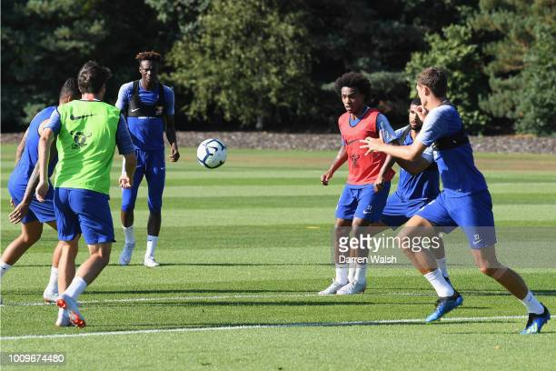 Willian of Chelsea during a training session at Chelsea Training Ground on August 2 2018 in Cobham England