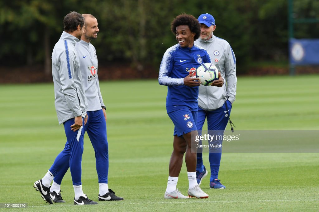 Willian of Chelsea during a training session at Chelsea Training Ground on August 10, 2018 in Cobham, England.