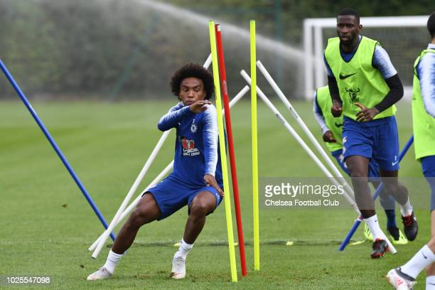 Willian of Chelsea during a training session at Chelsea Training Ground on August 31 2018 in Cobham England