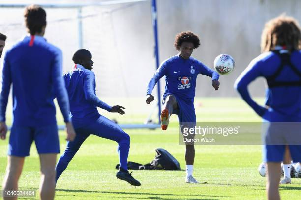 Willian of Chelsea during a training session at Chelsea Training Ground on September 25 2018 in Cobham England