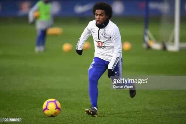 Willian of Chelsea during a training session at Chelsea Training Ground on February 1 2019 in Cobham England