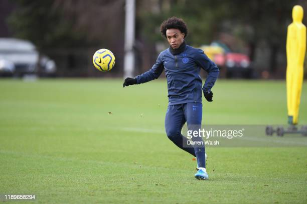 Willian of Chelsea during a training session at Chelsea Training Ground on December 20, 2019 in Cobham, United Kingdom.