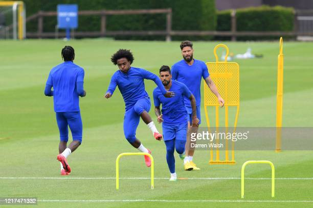 Willian of Chelsea during a training session at Chelsea Training Ground on June 3 2020 in Cobham England