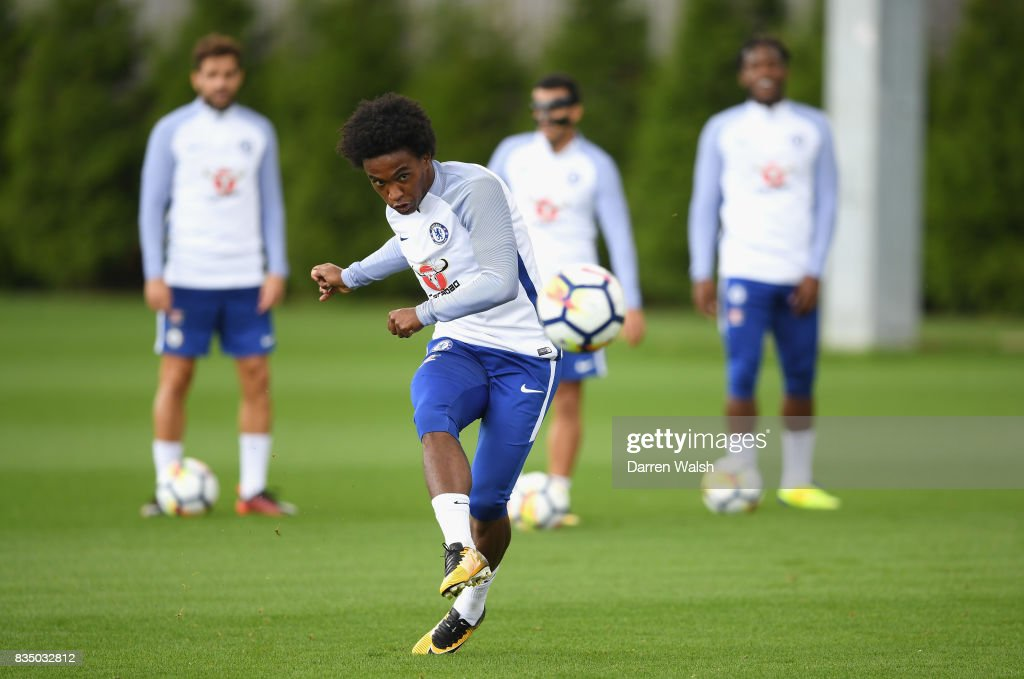 Willian of Chelsea during a training session at Chelsea Training Ground on August 18, 2017 in Cobham, England.