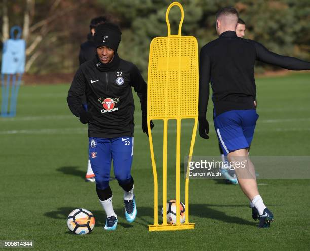 Willian of Chelsea during a training session at Chelsea Training Ground on January 16 2018 in Cobham England