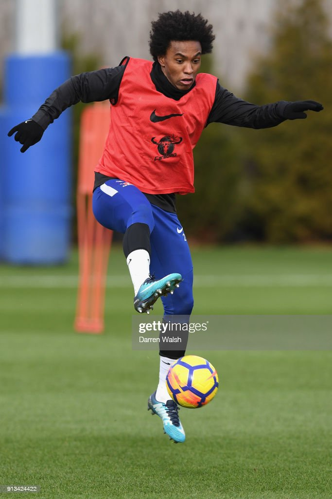 Willian of Chelsea during a training session at Chelsea Training Ground on February 2, 2018 in Cobham, England.