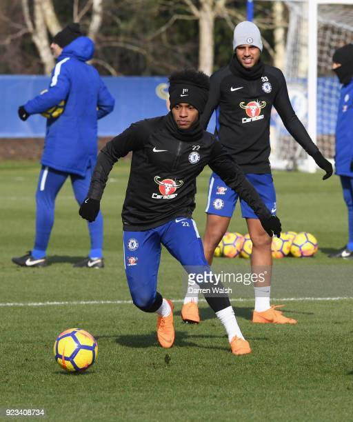 Willian of Chelsea during a training session at Chelsea Training Ground on February 23 2018 in Cobham United Kingdom