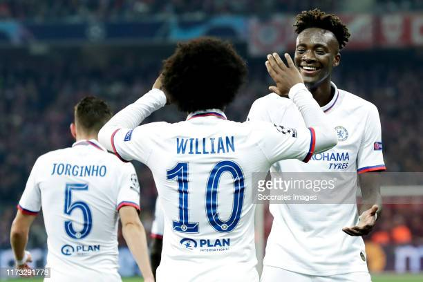 Willian of Chelsea FC Tammy Abraham of Chelsea FC celebrate 12 during the UEFA Champions League match between Lille v Chelsea at the Stade Pierre...