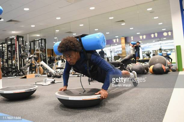 Willian of Chelsea in action during a gym training session at Chelsea Training Ground on October 15 2019 in Cobham England