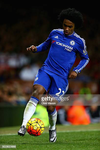 Willian of Chelsea in action during the Barclays Premier League match between Manchester United and Chelsea at Old Trafford on December 28 2015 in...