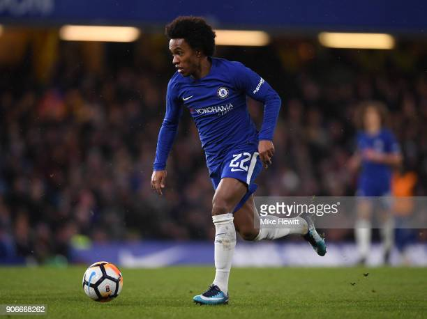 Willian of Chelsea in action during The Emirates FA Cup Third Round Replay between Chelsea and Norwich City at Stamford Bridge on January 17 2018 in...