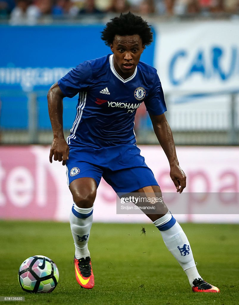 Willian of Chelsea in action during the friendly match between WAC RZ Pellets and Chelsea F.C. at Worthersee Stadion on July 20, 2016 in Velden, Austria.