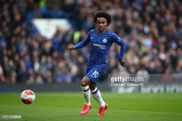 Willian of Chelsea in action during the Premier League match between Chelsea FC and Everton FC at Stamford Bridge on March 08, 2020 in London, United...