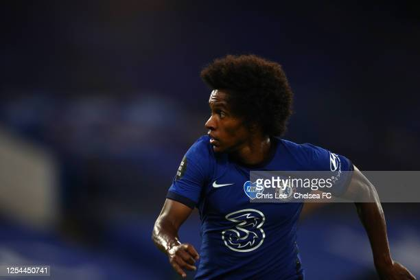 Willian of Chelsea in action during the Premier League match between Chelsea FC and Watford FC at Stamford Bridge on July 04 2020 in London England...