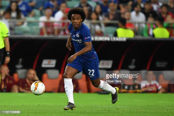 Willian of Chelsea in action during the UEFA Europa League Final between Chelsea and Arsenal at Baku Olimpiya Stadionu on May 29 2019 in Baku...