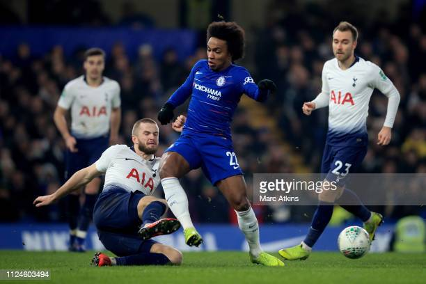 Willian of Chelsea in action with Eric Dier of Tottenham Hotspur during the Carabao Cup SemiFinal Second Leg match between Chelsea and Tottenham...