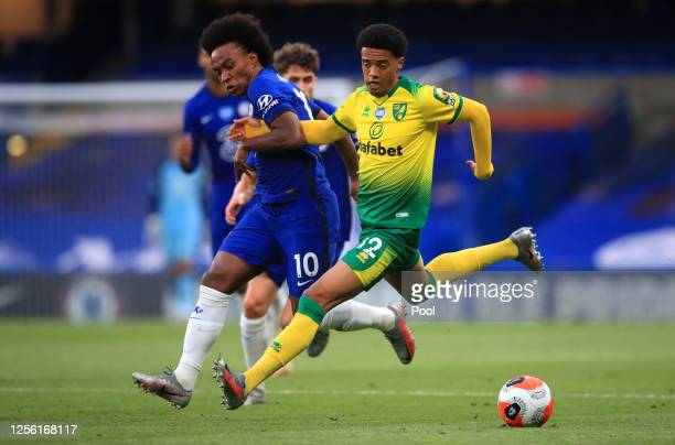 Willian of Chelsea is challenged by Jamal Lewis of Norwich City during the Premier League match between Chelsea FC and Norwich City at Stamford...