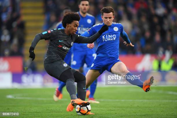 Willian of Chelsea is faced by Ben Chilwell of Leicester City during The Emirates FA Cup Quarter Final match between Leicester City and Chelsea at...