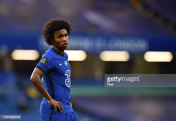 Willian of Chelsea looks on during the Premier League match between Chelsea FC and Watford FC at Stamford Bridge on July 04, 2020 in London, England....