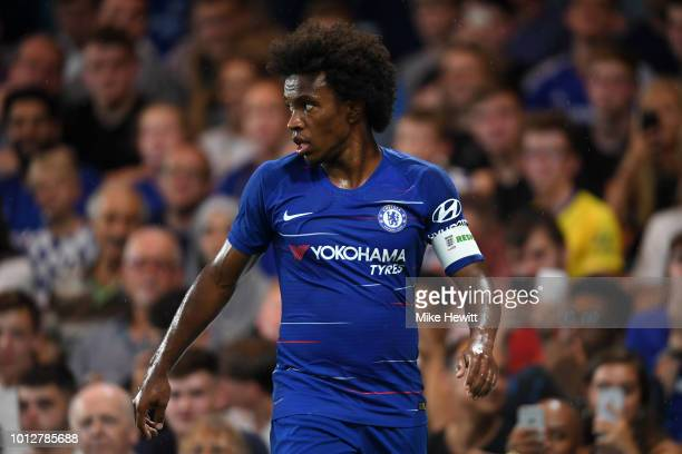 Willian of Chelsea looks on during the preseason friendly match between Chelsea and Lyon at Stamford Bridge on August 7 2018 in London England