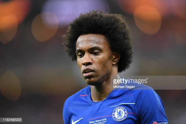 Willian of Chelsea looks on during the UEFA Europa League Final between Chelsea and Arsenal at Baku Olimpiya Stadionu on May 29 2019 in Baku...