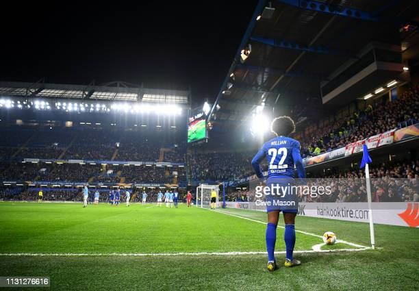 Willian of Chelsea prepares to take a corner during the UEFA Europa League Round of 32 Second Leg match between Chelsea and Malmo FF at Stamford...