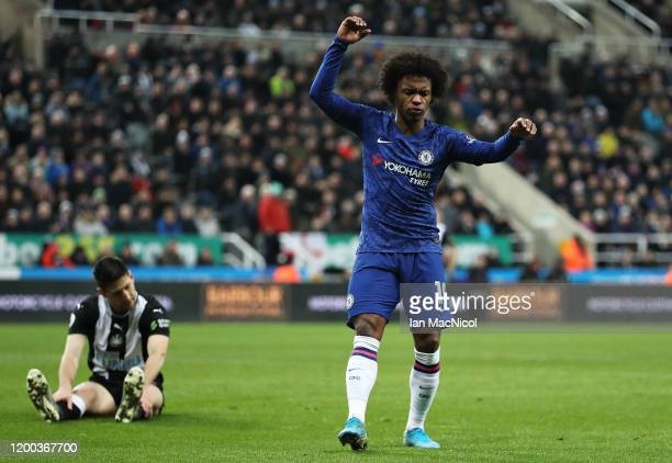 Willian of Chelsea reacts after missing a chance during the Premier League match between Newcastle United and Chelsea FC at St James Park on January...