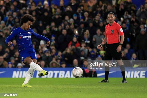 Willian of Chelsea scores a goal from the penalty spot during the FA Cup Fourth Round match between Chelsea and Sheffield Wednesday at Stamford...