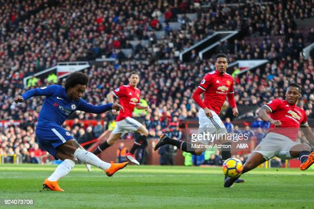 Willian of Chelsea scores a goal to make it 01 during the Premier League match between Manchester United and Chelsea at Old Trafford on February 25...
