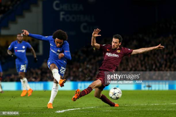 Willian of Chelsea scores a goal to make it 10 during the UEFA Champions League Round of 16 First Leg match between Chelsea FC and FC Barcelona at...