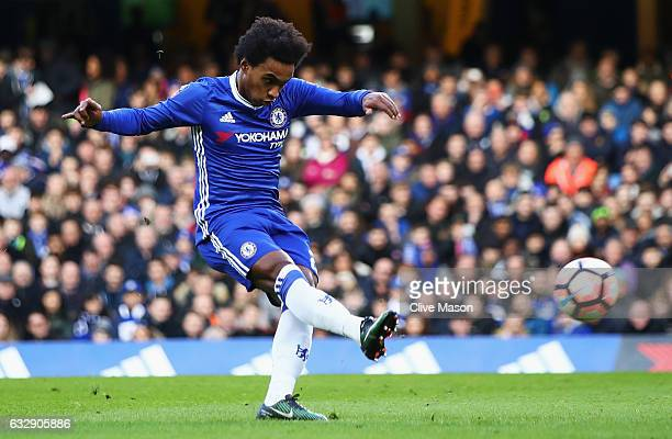 Willian of Chelsea scores his sides first goal during the Emirates FA Cup Fourth Round match between Chelsea and Brentford at Stamford Bridge on...