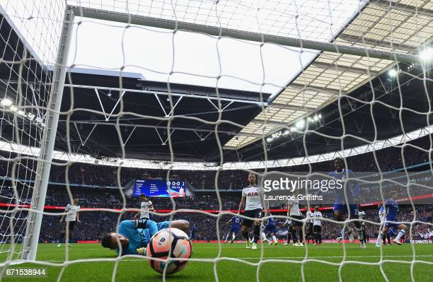 Willian of Chelsea scores his sides first goal during The Emirates FA Cup SemiFinal between Chelsea and Tottenham Hotspur at Wembley Stadium on April...