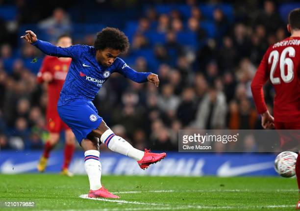 Willian of Chelsea scores his sides first goal during the FA Cup Fifth Round match between Chelsea FC and Liverpool FC at Stamford Bridge on March 03...