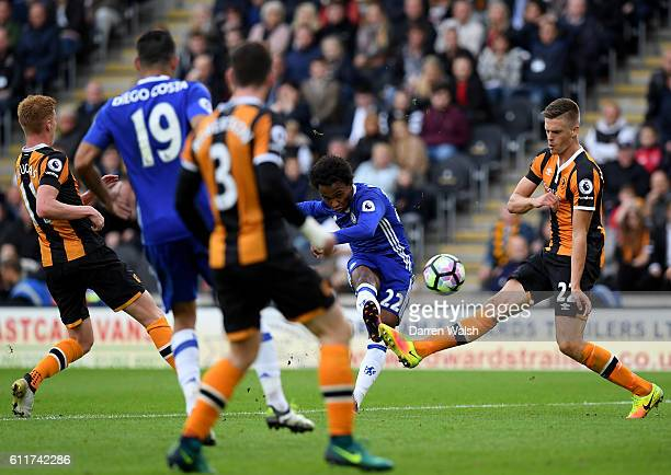 Willian of Chelsea scores his sides first goal during the Premier League match between Hull City and Chelsea at KCOM Stadium on October 1, 2016 in...