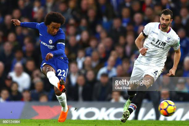 Willian of Chelsea scores his sides first goal during the Premier League match between Chelsea and Crystal Palace at Stamford Bridge on March 10 2018...