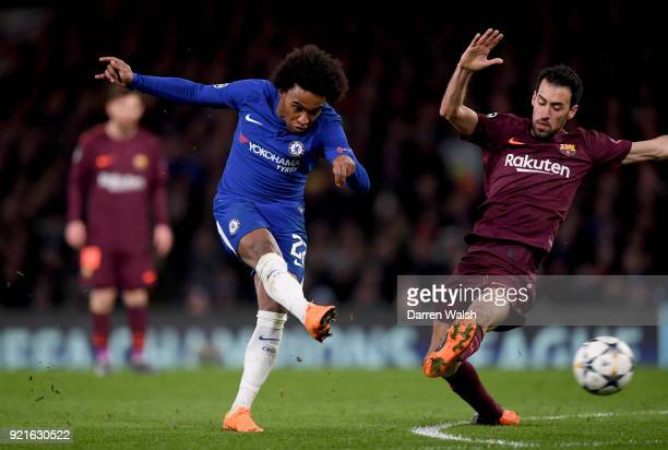 Willian of Chelsea scores his sides first goal during the UEFA Champions League Round of 16 First Leg match between Chelsea FC and FC Barcelona at...