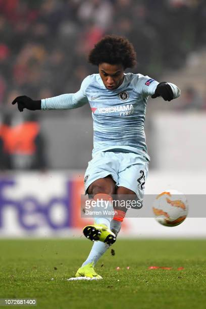 Willian of Chelsea scores his sides first goal from a free kick during the UEFA Europa League Group L match between Vidi FC and Chelsea at Groupama...