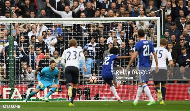 Willian of Chelsea scores his sides second goal during The Emirates FA Cup SemiFinal between Chelsea and Tottenham Hotspur at Wembley Stadium on...